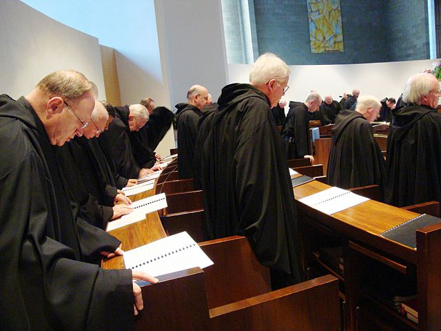 Roman Catholic monks of the Order of Saint Benedict singing Vespers on Holy Saturday at St. Mary's Abbey in Morristown, New Jersey.
