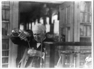 Thomas Edison experimenting in his laboratory c1920. Photograph from the US Library of Congress collection.