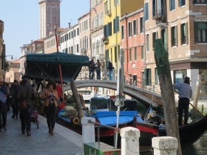 A busy canal in Venice.